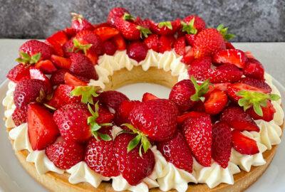 Jordbærtærte med vaniljecreme