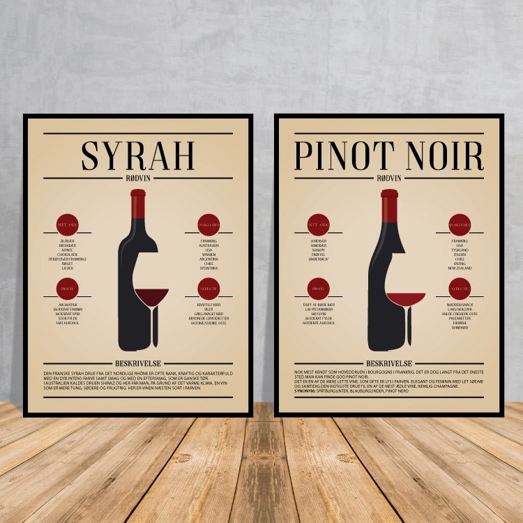 Vinplakater, Pinot Noir, Syrah